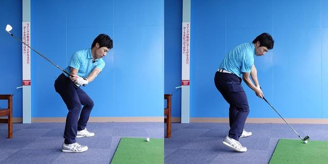 画像: クラブをシャローに下ろしてきたら、右足を使って体を左に回転させればスクェアなインパクトができる