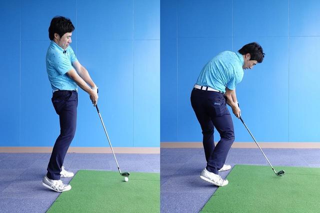 画像: 鋭角なヘッド軌道だと体が起き上がり手元が浮いてしまう(左)。シャローイングの動きでクラブを下ろすとゆるやかなヘッド軌道になるので、体の伸び上がりや手元の浮きを抑え、フェース面を安定させて打つことができる