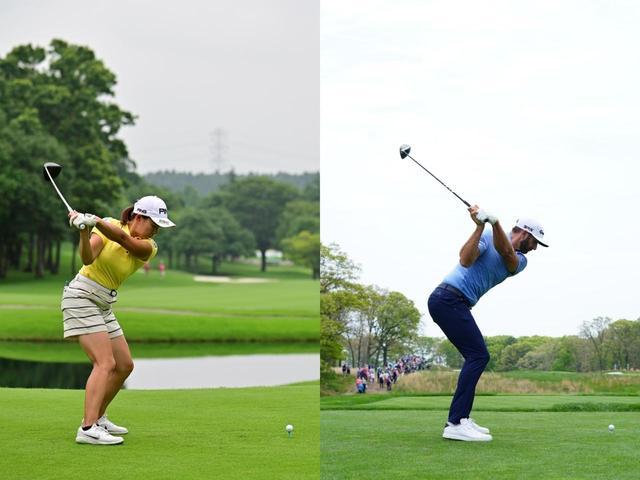 画像: ダウンスウィングでは2人とも左手首が掌屈している(写真左は2019年サマンサタバサレディス写真/有原裕晶 写真右は2019年全米プロ 写真/姉崎正)