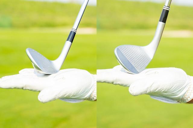 画像: 左が通常通りに、右が手元を浮かせて構えた場合のソールのイメージ。手元を浮かせたほうが接地面が少ないぶんミスが起きにくいという
