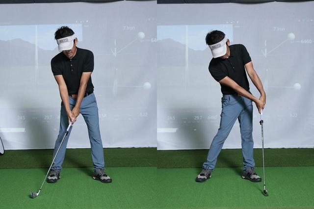 画像: ヘッドを浮かさずに、左手首を手のひら側に折りロフトを立ててハンドファーストにインパクトするまで地面をなぞるドリル