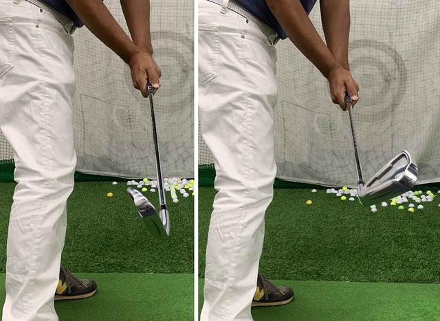 画像: ダウンスウィングでのフェースの開きに注意! 写真左ではなく、右の状態で下ろすのがポイントとのこと