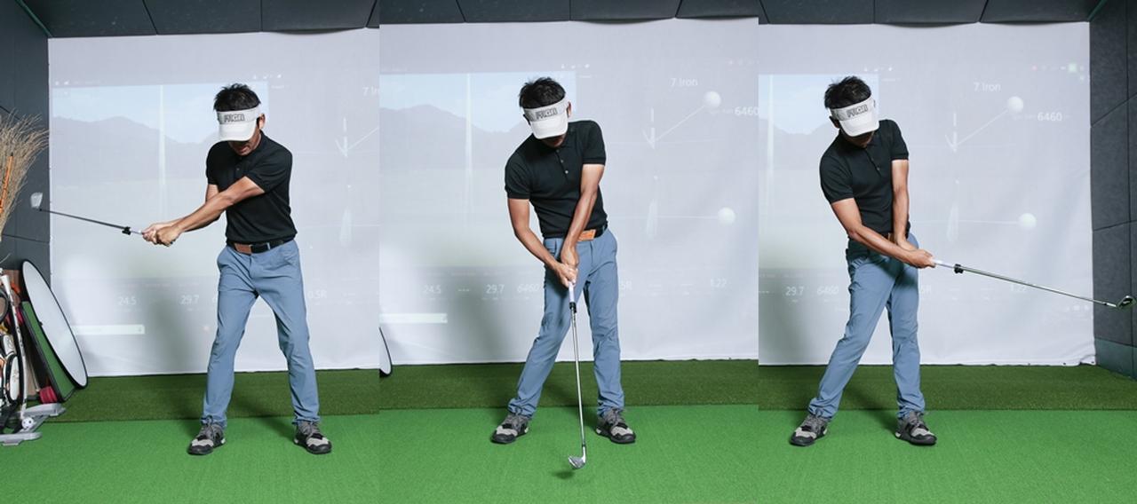 画像: 越田さんはダウンスウィングで手首がほどけフェースが開いてインパクトしていた
