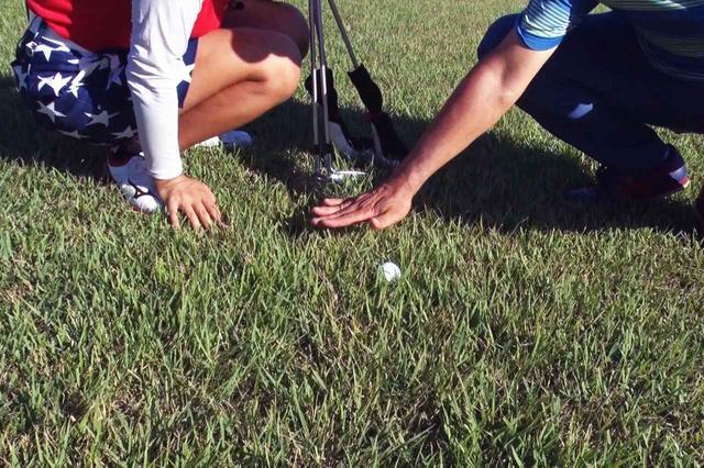 画像: (写真1)ラフの高さよりボールは下に埋まってしまっているが、ボールは少し離れたところからでも視認できる