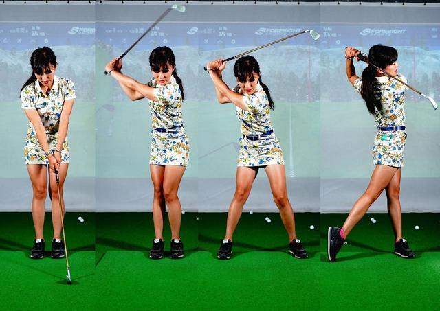 画像: 普段のアドレスの状態から、左足を右足にくっつける(写真左)、テークバックする(写真左から2番目)、左足を思い切り踏み込む(写真左から3番目)、振る(写真右)