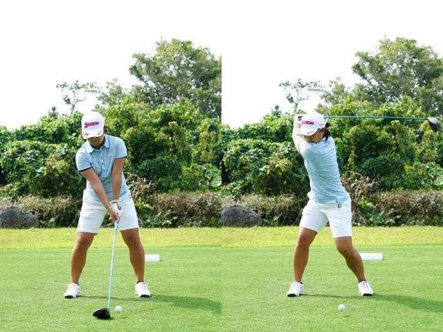 画像: 画像A:スクェアなグリップ、ワイドスタンスが特徴的な畑岡奈紗。トップでも右腰の位置が変わらない、左右動の少ないタイプ(写真は2019年のダイキンオーキッドレディス 撮影/姉崎正)