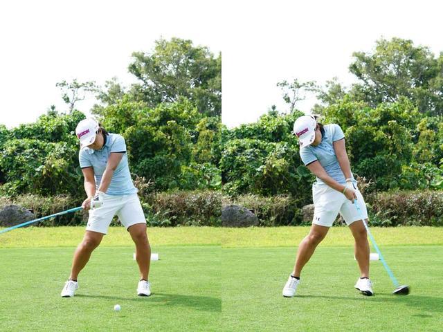 画像: 画像B:ダウンからインパクトにかけては、体の動きは減速し、ヘッドが走る(写真は2019年のダイキンオーキッドレディス 撮影/姉崎正)
