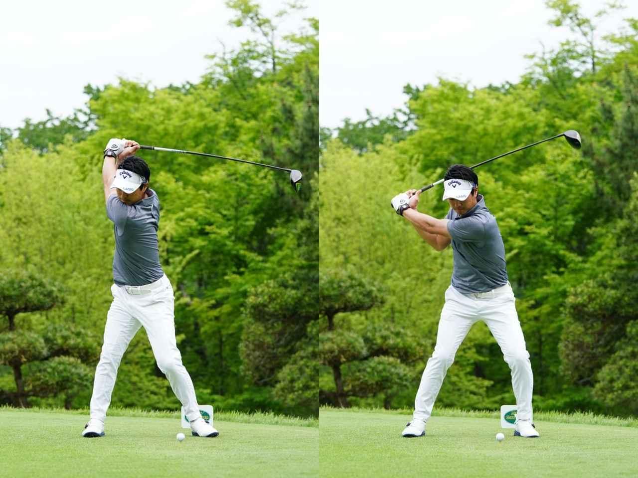画像: 画像A:切り返しから腰が左へのスライドする動きを使う割合が大きい(写真は2019年のツアー選手権森ビルカップ 撮影/姉崎正)