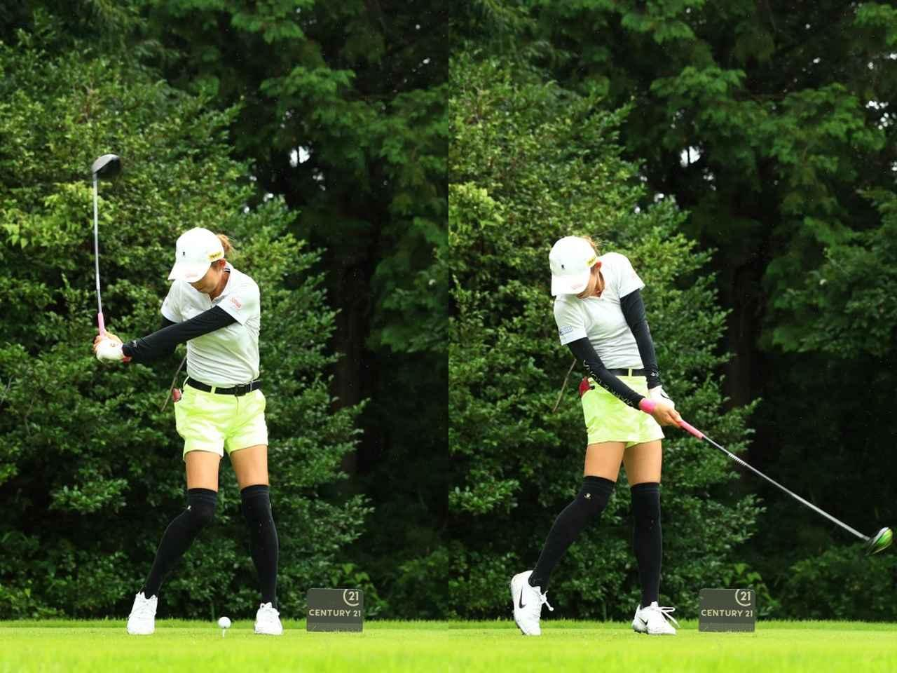 画像: 画像B:ダウンスウィングではクラブを立てるように引き下ろし、インパクトに向けて腕を回旋する動きは入らないためフェースの開閉は使っていない(写真は2019年のセンチュリー21レディス 撮影/大澤進二)