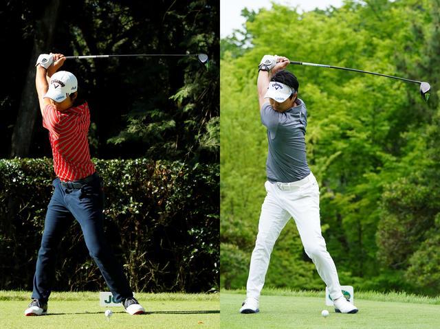 画像: 左は2017年「日本オープン」右が2019年「ゴルフツアー選手権」でのスウィング。19年のほうがトップが高い(撮影/姉﨑正、岡沢裕行)