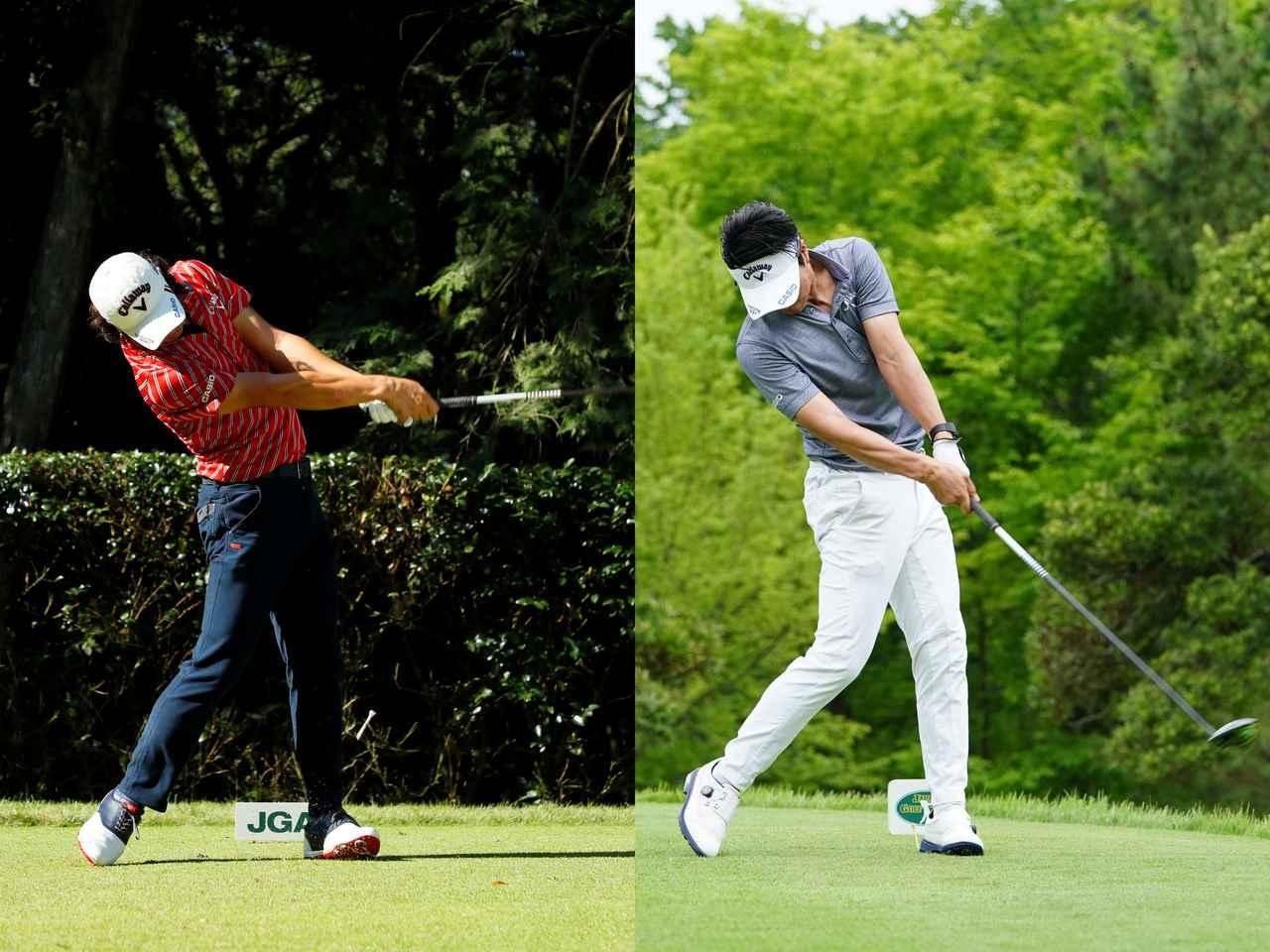 画像: 19年(右)は17年(左)より腰の回転でクラブにエネルギーを伝えるスウィングになっている( 撮影/姉﨑正、岡沢裕行)