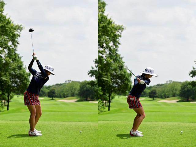 画像: 画像B:右わきを締めすぎないアップライトなトップ(左)からクラブを寝かせスウィングプレーンに乗せる動きと地面反力を使うためスクワットするように沈み込む動作(右)が見られる(写真は2019年のセンチュリー21レディス 撮影/有原裕晶)