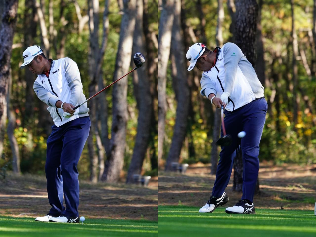 """画像: ボールの後ろで素振りをし(写真左)、ショットに臨む松山英樹。プロは、ショット前の""""手順""""を一定にしている場合が多くある(写真は2018年のダンロップフェニックス 撮影/姉崎正)"""