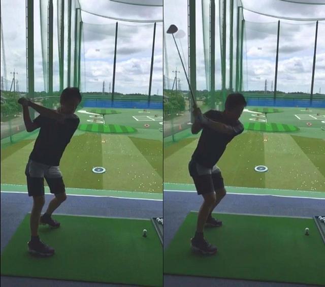 画像: タブレットで撮影したスロー動画をチェックすると、トップ(左)で体の後ろ側に倒れたクラブを切り返し以降で持ち上げてから下ろしている