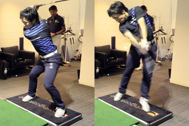 """画像: 石井忍が教える""""スクラブ""""の動きを実践する原田。実際にインパクトで左足が後ろに下がっている"""