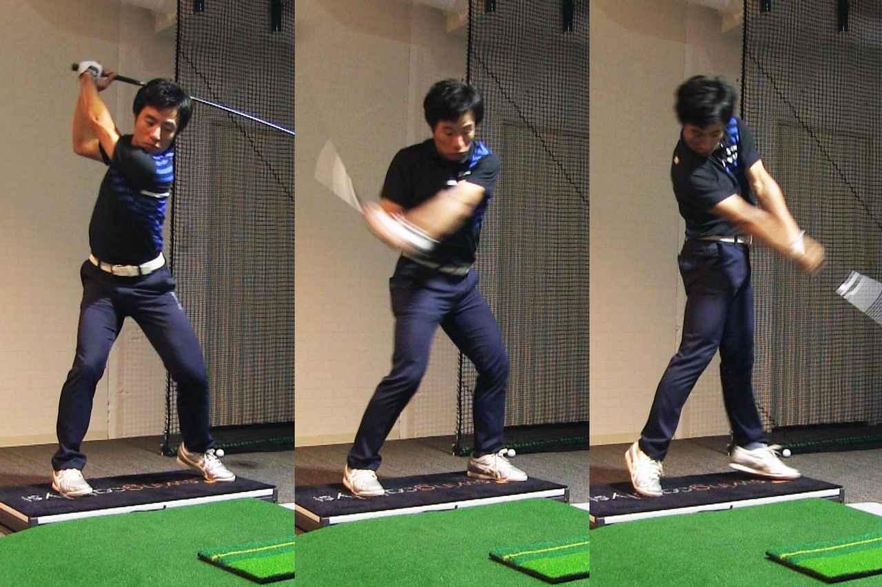 画像: スクラブの動きを取り入れた原田。強い力で地面を蹴り上げているのが分かる