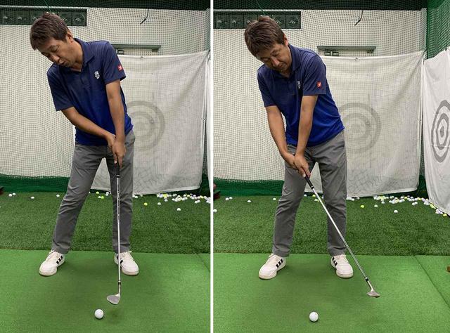 画像: 上体が起き上がったり、手打ちになるとまともにボールに当たりません。
