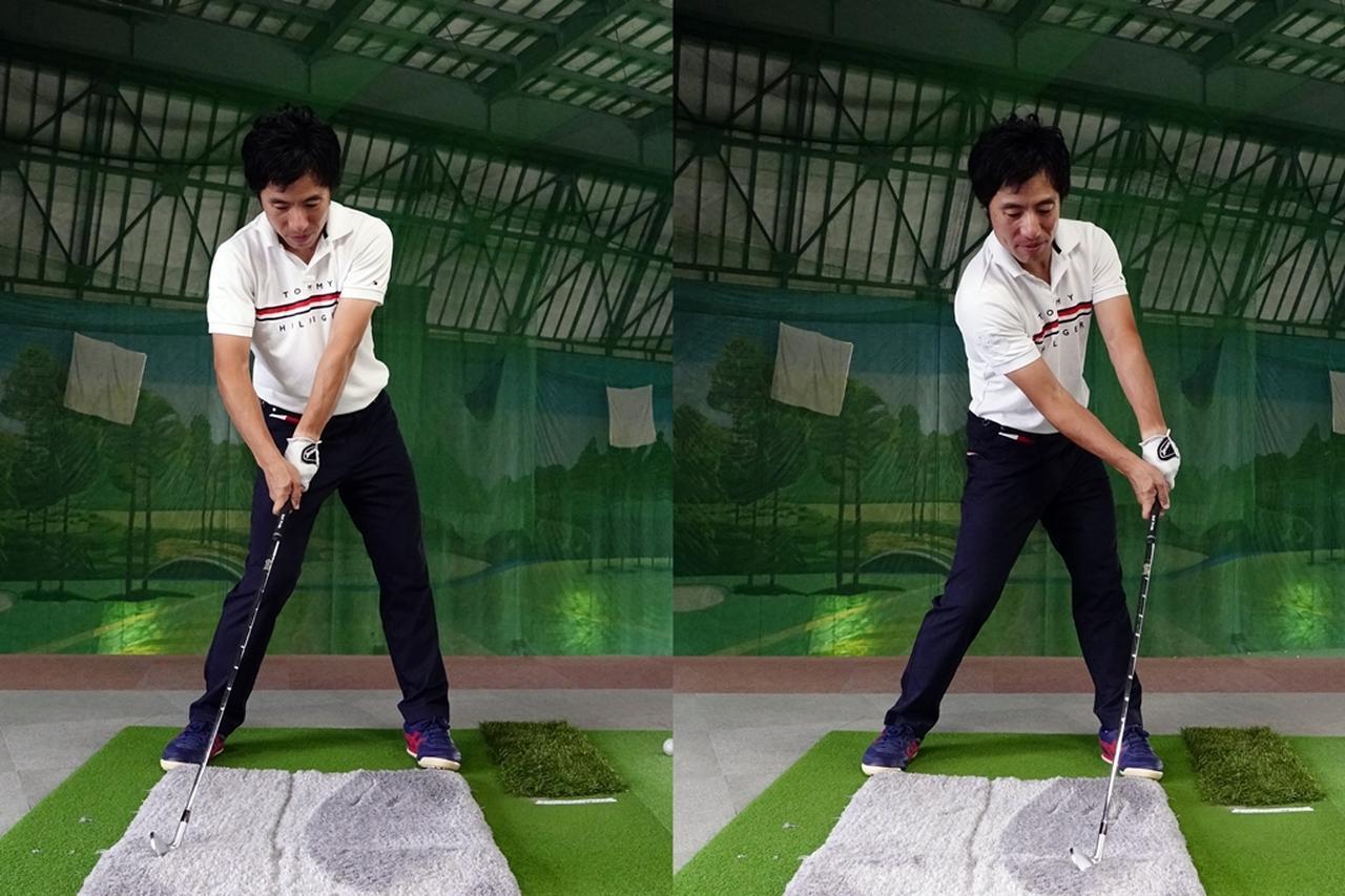 画像: 正面から見て、ボールラインより左に跡が付くようならダフリ(写真左)、右側であればトップの恐れアリ(写真右)