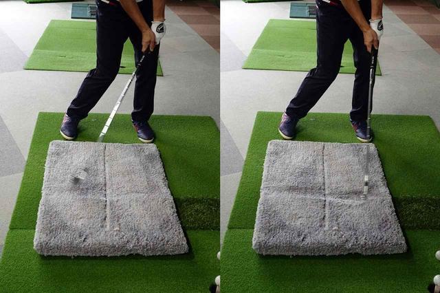 画像: 跡が付きやすい絨毯マットの上でクラブを振ることで、ヘッドが地面に着くタイミングやターフの取れ方を再現できる