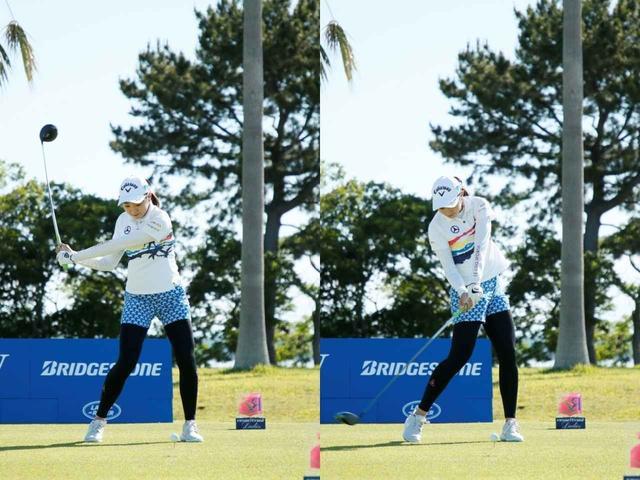 画像: 画像B:ゆるやかな角度でボールをとらえるダウンスウィング(写真は2019年のリゾートトラストレディス 撮影/小林司)