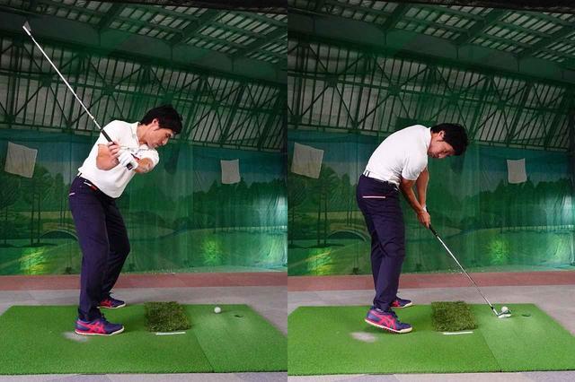 画像: 蹴り上げる瞬間に胸を抑え込む動作を入れることで、伸び上がりを防ぐことができる