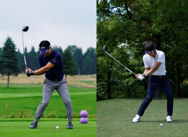 画像: 写真は左が2019年の「セガサミーカップ」(撮影/岡沢裕行)、右が2018年の「中日クラウンズ」(撮影/姉崎正)。注目は左足だ