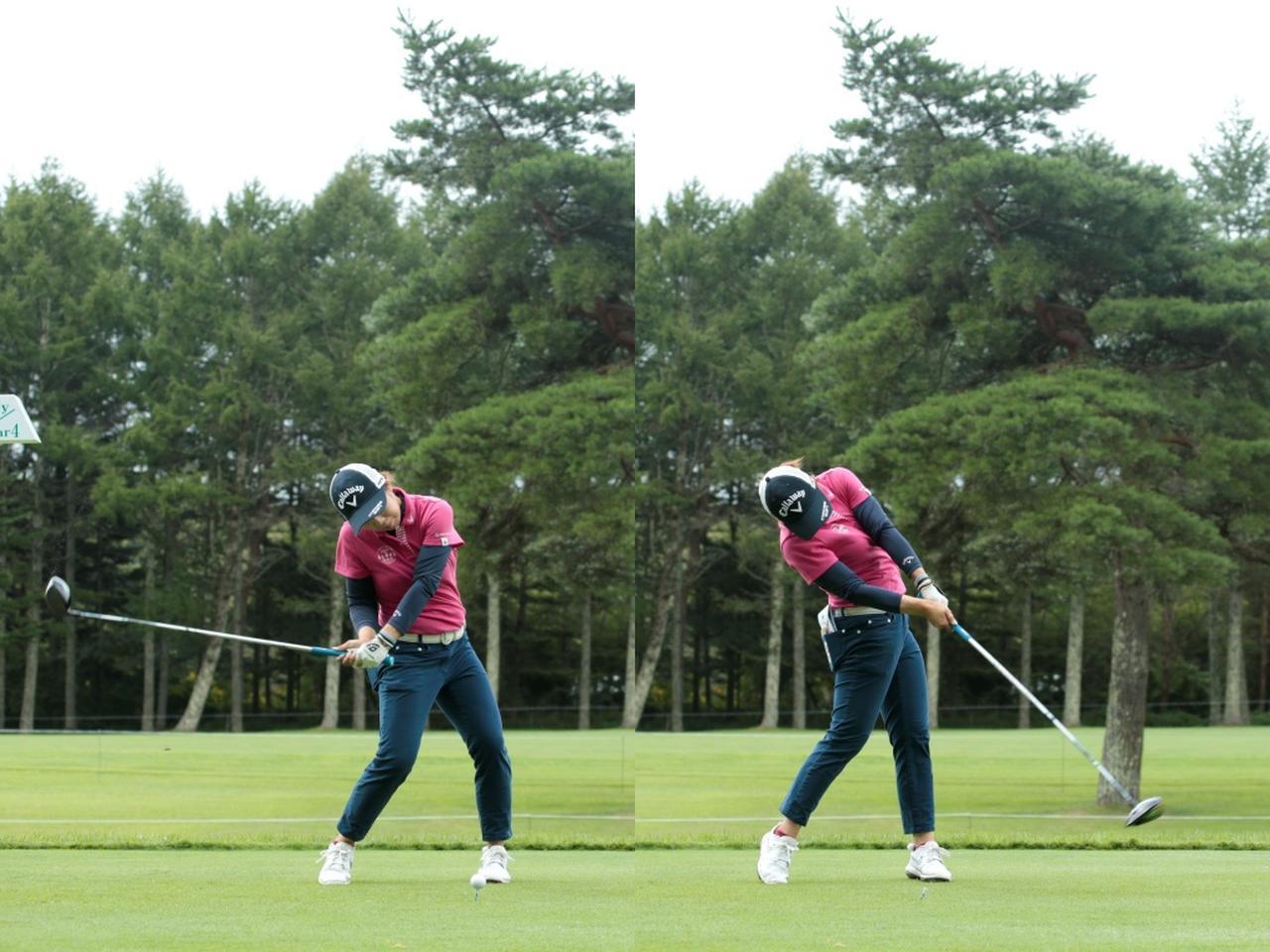 画像: 画像B:体のねじり戻しで回転力を生みフェースの開閉を少なくすることで飛距離と方向性を両立させる