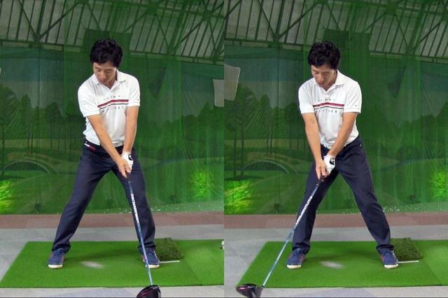 画像: 右足首から腰、胸、腕とエネルギーが伝わっていき、最後にクラブが動く