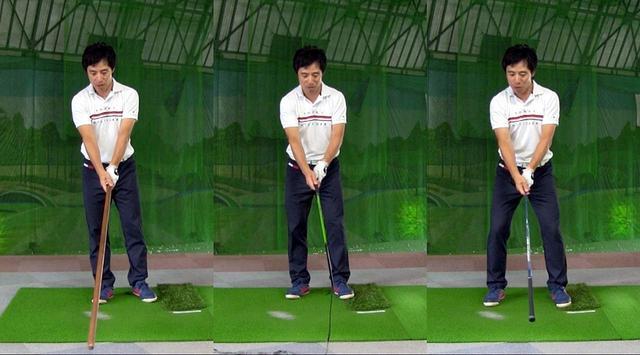 画像: 長い棒(左)、リボンを先端に結んだシャフト(中)、クラブの逆さ持ち(右)での素振りドリル。右へ行くほど難易度は高くなるので、段階を踏んでキネティックシークエンスの感覚をつかんでいこう
