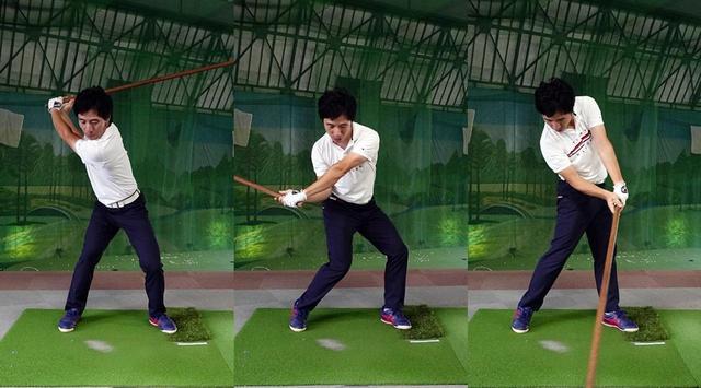 画像: 回転動作でヘッドをスウィングプレーン上に乗せる。インパクトの瞬間に地面を蹴り上げることでさらにヘッドが加速する
