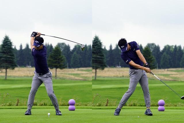 画像: 左ひざに注目すると、トップでは沈んでいるがインパクト直後では伸びていることがわかる(写真は2019年のセガサミーカップ 撮影/岡沢裕行)