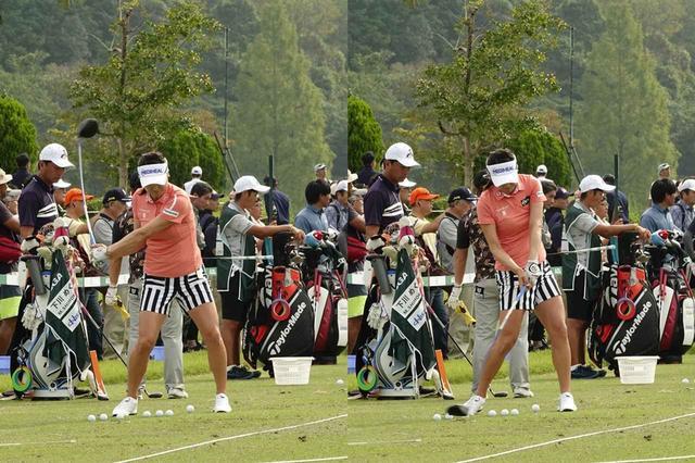 画像: 画像B:左ひざを戻すように切り返し、下半身主導でインパクトを迎える