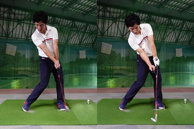 画像: スクェアグリップの場合右肩を下げない意識でダウンスウィングするが(左)、ストロンググリップだと右わきが縮む動きが入るので右肩は下がるのが自然(右)