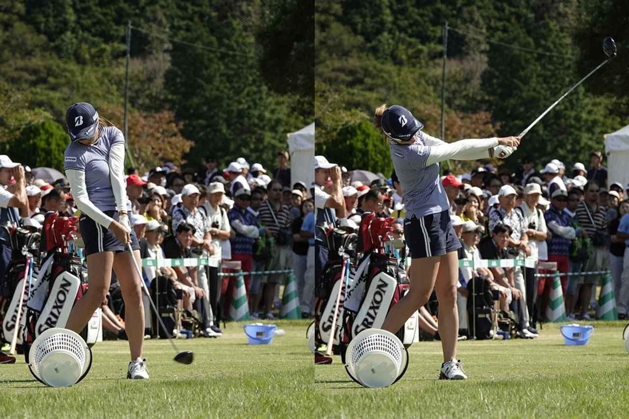 画像: インパクトでも左腕は体と密着させ、飛距離よりもやや方向性を優先