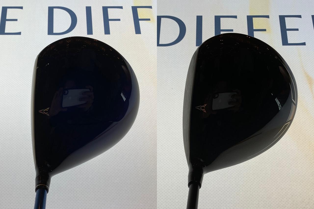 """画像: ゼクシオ11(左)とゼクシオ X(右)。従来のゼクシオの形状を踏襲する11に対し、Xはややディープフェースで""""叩ける""""イメージの顔になった"""