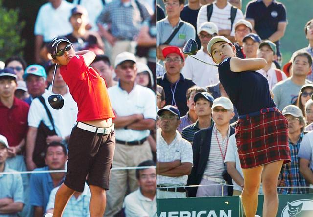 画像: 05年の「日本女子オープン」で公式戦初優勝を飾った宮里藍(写真左 撮影 澤田仁典)と、今年の渋野日向子(写真右)。大会中はともにフィーバーの主役として大勢のギャラリーを引き連れた