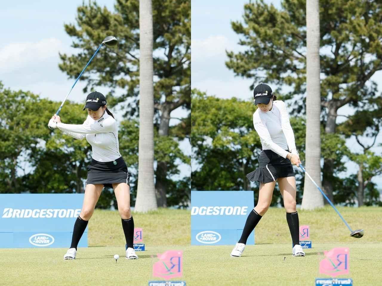 画像: 切り返しで左のひざをアドレスの位置に戻し、そこから地面を踏みしめることでボールをつかまえていく(写真は2019年のリゾートトラストレディス 撮影/小林司)