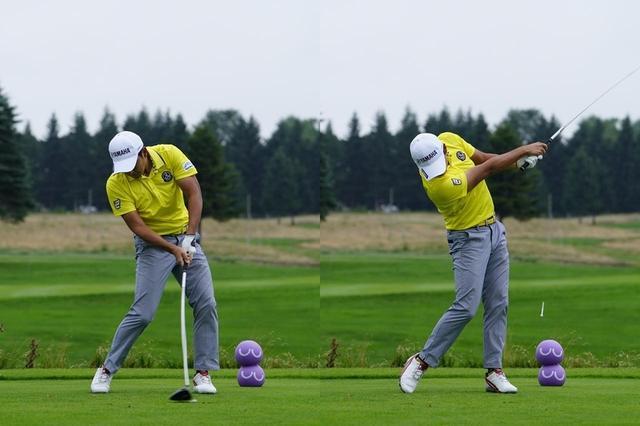 画像: (写真D)インパクトからフォローまで、頭の向きはほぼ変わらずに振り切っている(写真は2019年のセガサミーカップ 撮影/岡沢裕行)