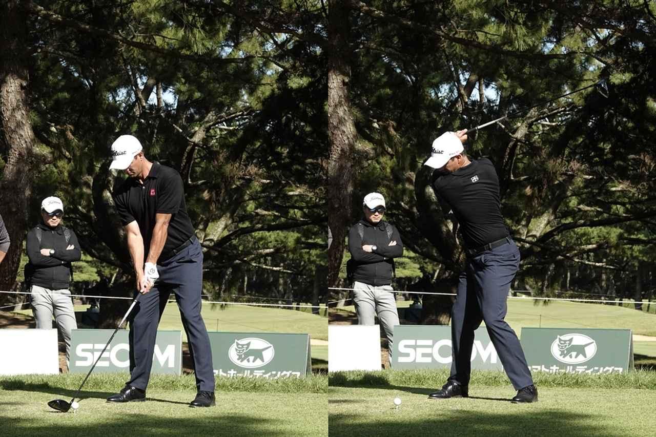 画像: 写真A:左ひざが前方に折れ曲がっていることから、下半身を固定させずに回転させていることがわかる