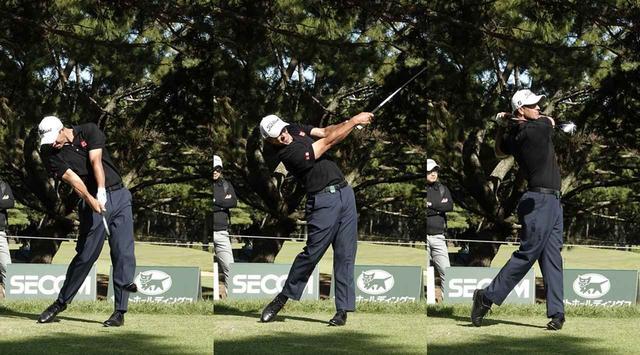 画像: 写真C:右肩がしっかりと回転し、フィニッシュでターゲット方向を向いている