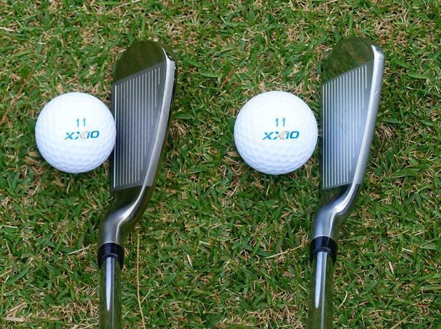 画像: 左がゼクシオ11、右がゼクシオX。よく似ているが、Xの方がグースネックの度合いが強く、トップラインにも厚みがある