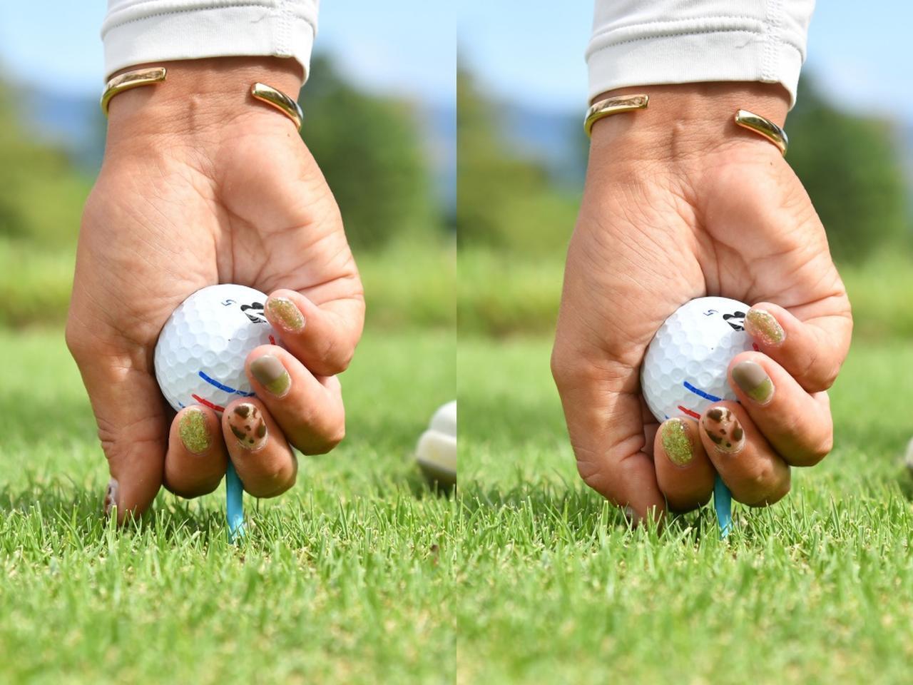 画像: ティは「プラスチック派」という高橋彩華のティアップ。「普通の日用」(写真左)と「風の強い日用」(写真右)を親指で高さを決めているようだ