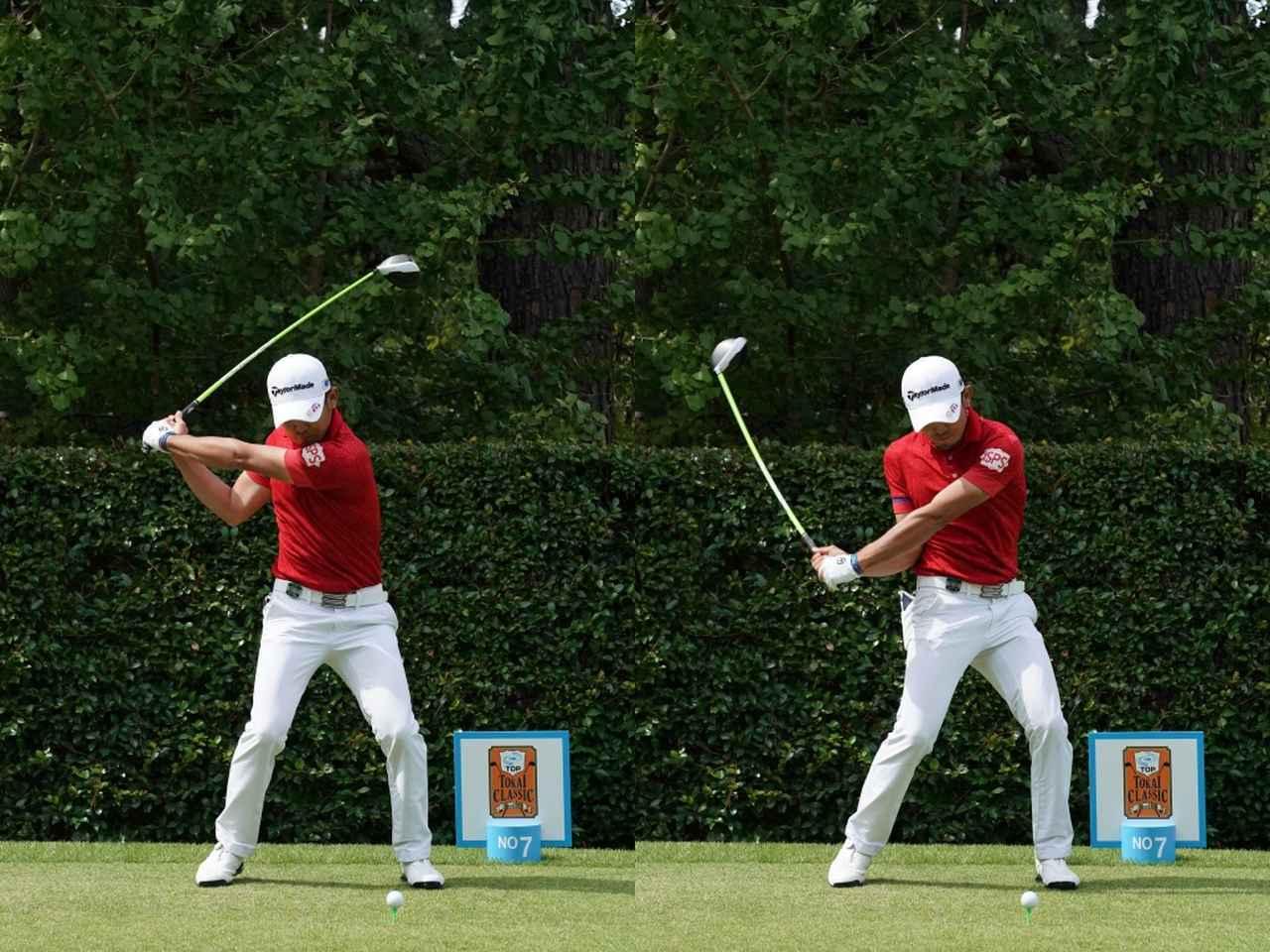 画像: 写真B:切り返しでも重心移動は少なく、その場で下半身を切っていく