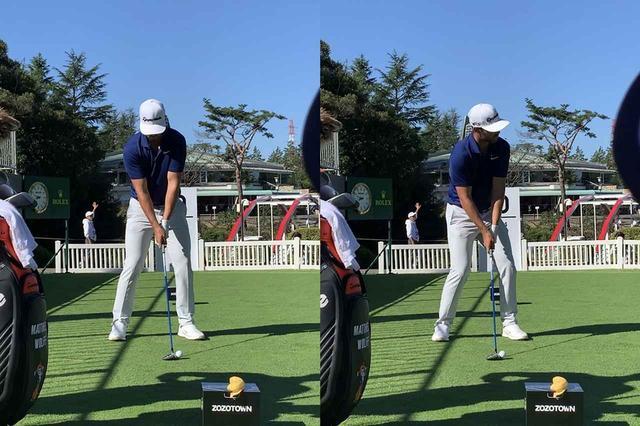 画像: 写真E:腰をターゲット方向に切るような動きのルーティン(写真右)が特徴的。腰を切り、それを戻すと同時に始動する