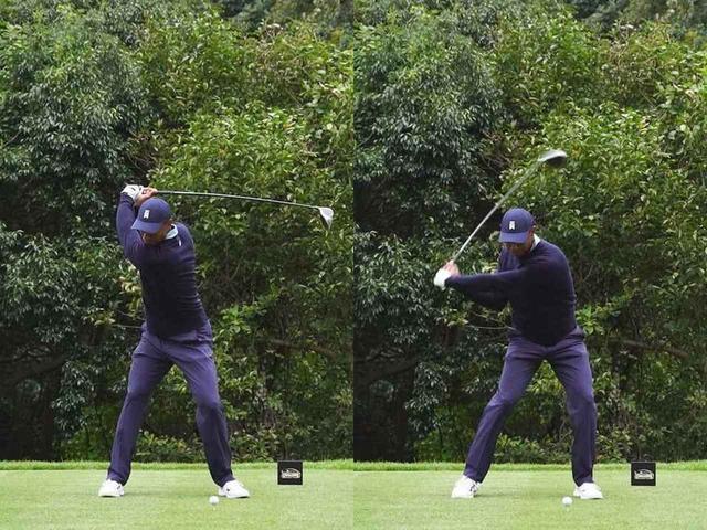 画像: ダウンスウィングでの肩の開きが遅めであることから「おそらく、ドローを打っていくスウィングだと思います」(中井)。タイガーのショットマネジメントに注目だ
