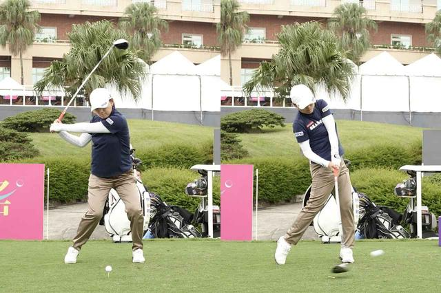 画像: 写真B:左ひざ、右足かかとに注目すると、地面反力を活かして飛ばしていることがわかる