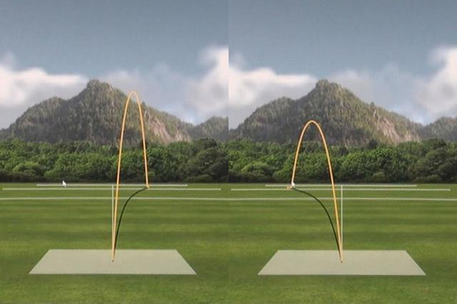 画像: ノリーのNEW egg 5500の1打目(左)と2打目(右)の弾道