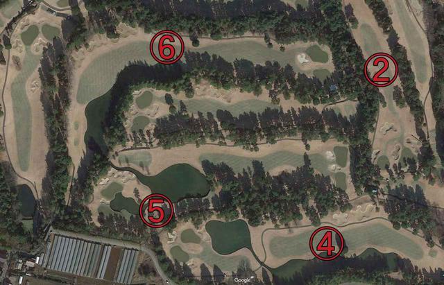 画像: L字のホールが6番ホールだが、航空写真をみると林でセパレートされているのがよくわる(写真提供/Googleアース)