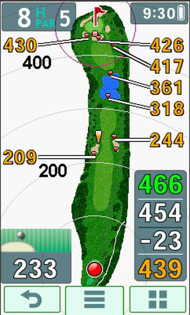 画像: ティグラウンドから見た実際のナビ画面がこちら。池まで318ヤードがひと目でわかる