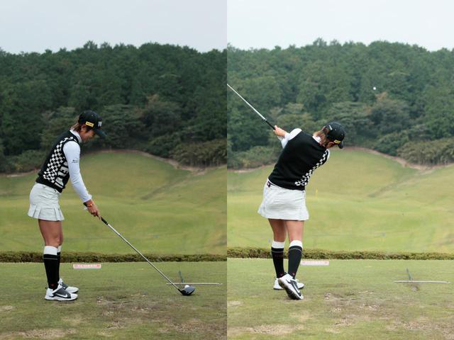 画像: (画像A)藤本麻子はボールの先にスティックを置いている